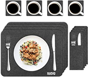 Nuovoware Placemats, [12 Piece] Washable Kitchen Table Dining Felt Place Mats Pads with Coasters & Cutlery Holder Bags, Dining Set for 4 Persons, Stain Heat Resistant Non-slip, Dark Gray