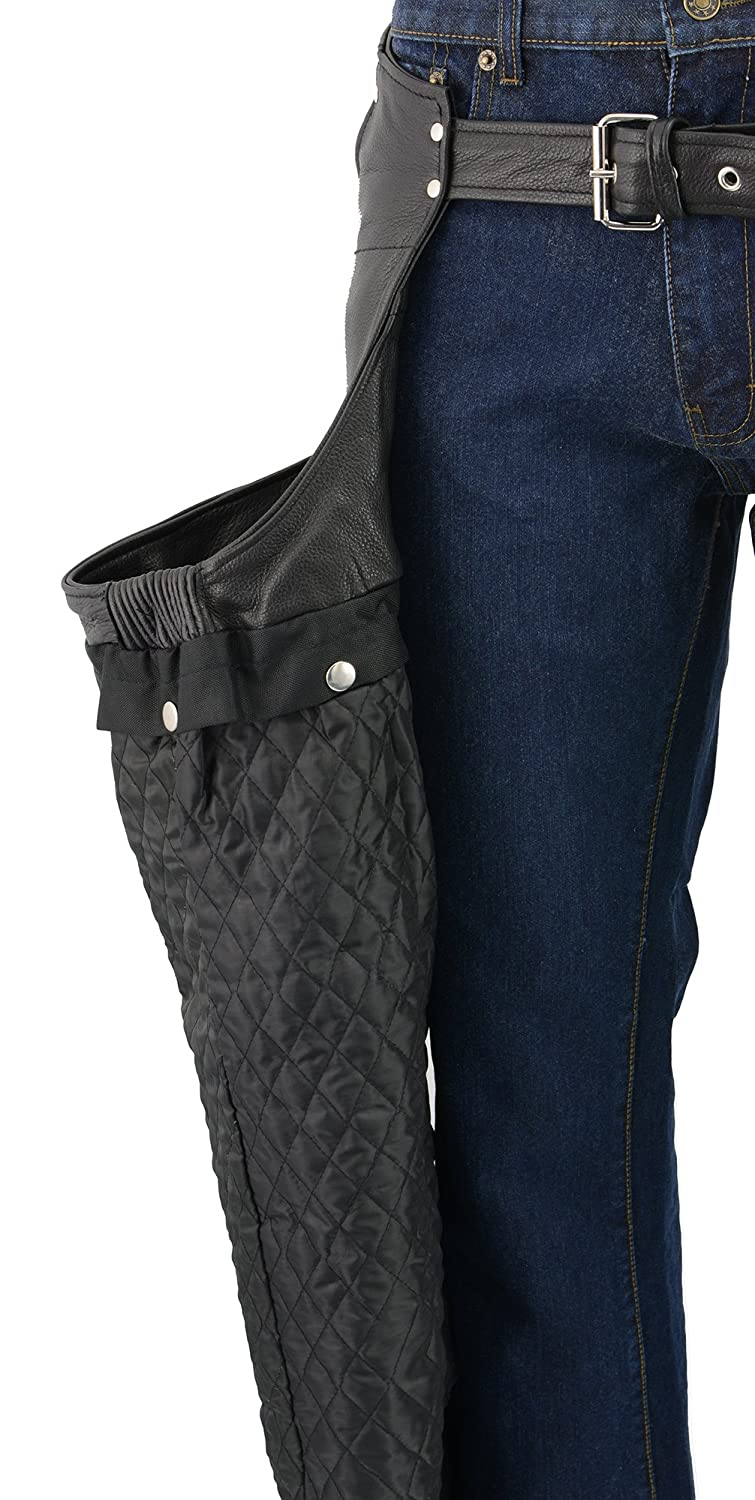M-BOSS MOTORCYCLE APPAREL-BOS15508-BLACK-Men/'s pant style zipper pocket naked cowhide leather chaps.-BLACK-2X-LARGE
