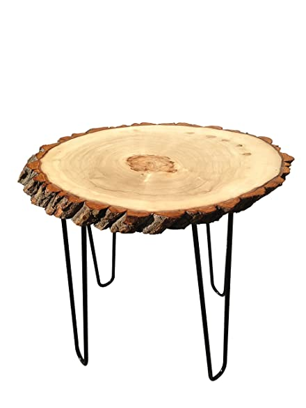 Modern Solid Natural Wood Round Slab End Table (End Table Hpin1)