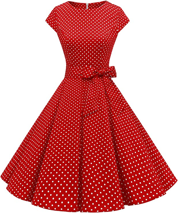 TALLA L. Dressystar Vintage 1950s Polka Dot and Solid Color Prom Dresses Cap-Sleeve Red White Dot A L