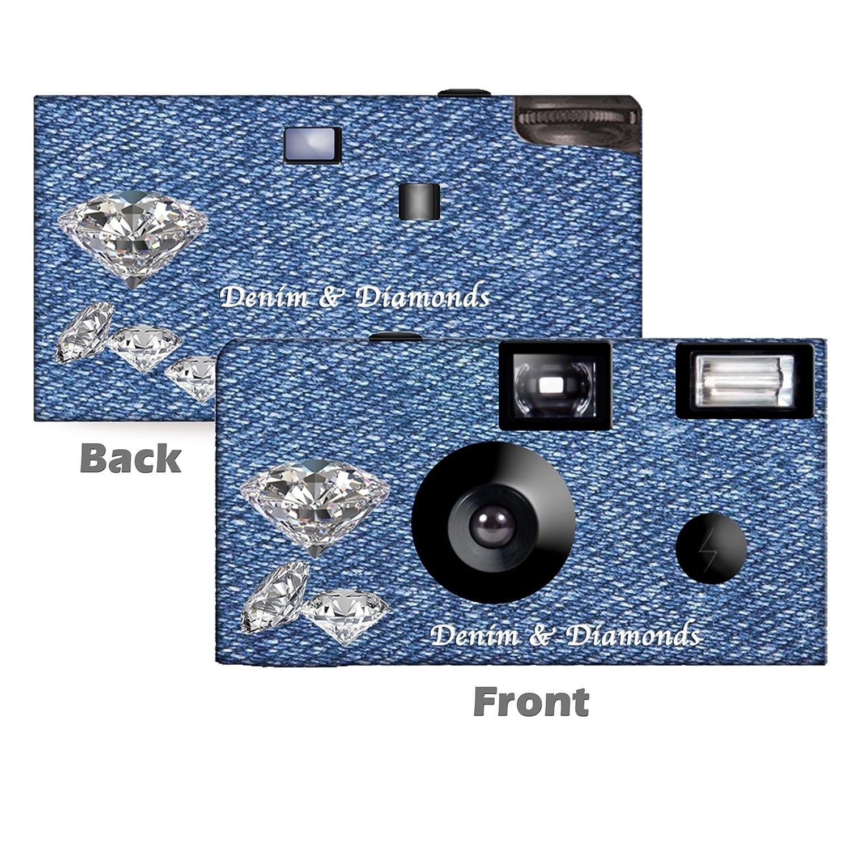 5パックデニム&ダイヤモンド使い捨てカメラ、ウェディングカメラ、記念日カメラ、Sweet 16、Quinceañera、パーティーカメラからcustomcameracollection wm-68002-c B06XWDVHMH