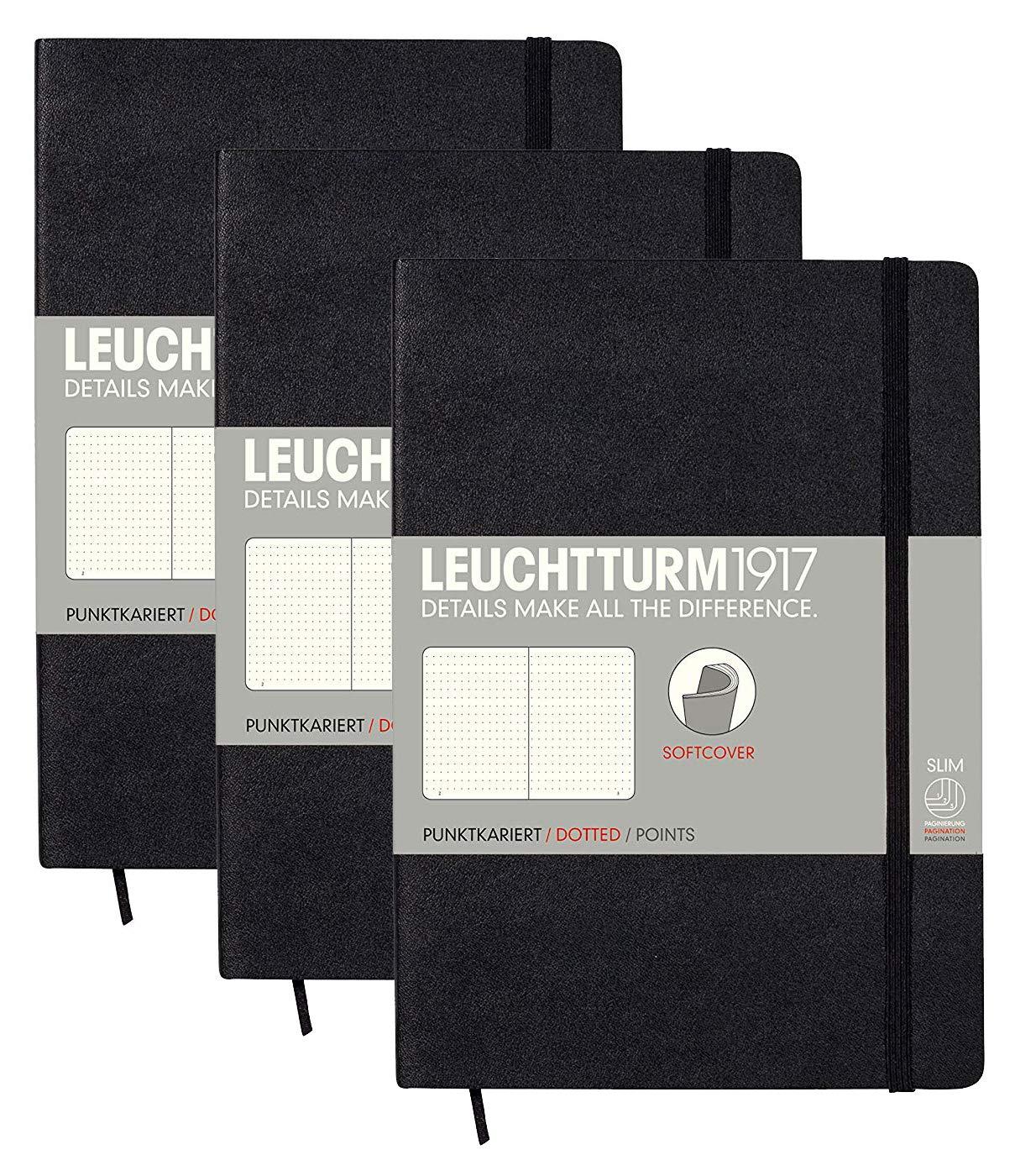 Leuchtturm ソフトカバー ミディアム A5 水玉ノートブック3冊セット [ブラック]   B07NM2DC9W