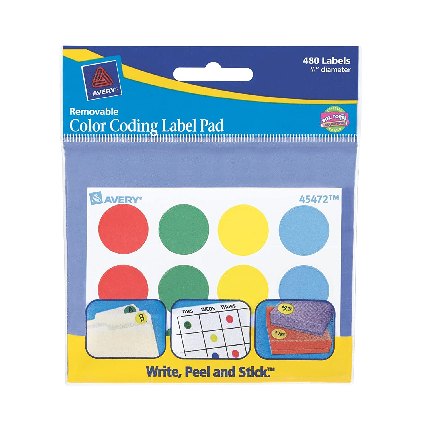 Amazon Avery Color Coding Label Pad 075 Inch Diameter Assorted Pack Of 480 45472 All Purpose Labels Office Products