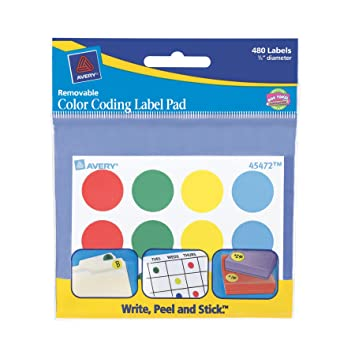 avery color coding label pad 075 inch diameter assorted pack of 480 - Avery Colored Labels
