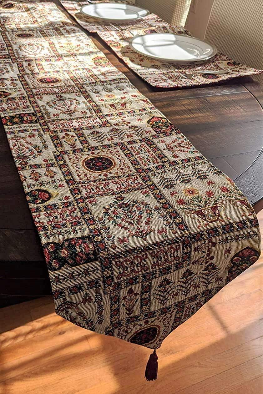 DaDa Bedding Light Botanical Fleur Table Runner - Tapestry Woven Multi-Colorful White Floral Vintage Garden - Golden Ornament Design Decorative Cotton Linen Woven Dining Table Mats - 13