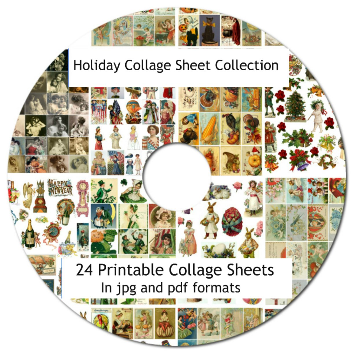 24 Holiday Vintage Collage Sheets Collection 8.5 x 11'' On CD Printabe jpg pdf Scrapbooking, Altered Art, Decoupage