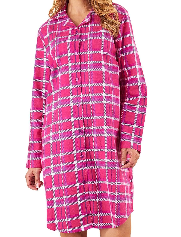 Ladies Slenderella Tartan Nightshirt Brushed Cotton Long Sleeve Checked  Nightie UK 12 14 (Raspberry) at Amazon Women s Clothing store  30959d291