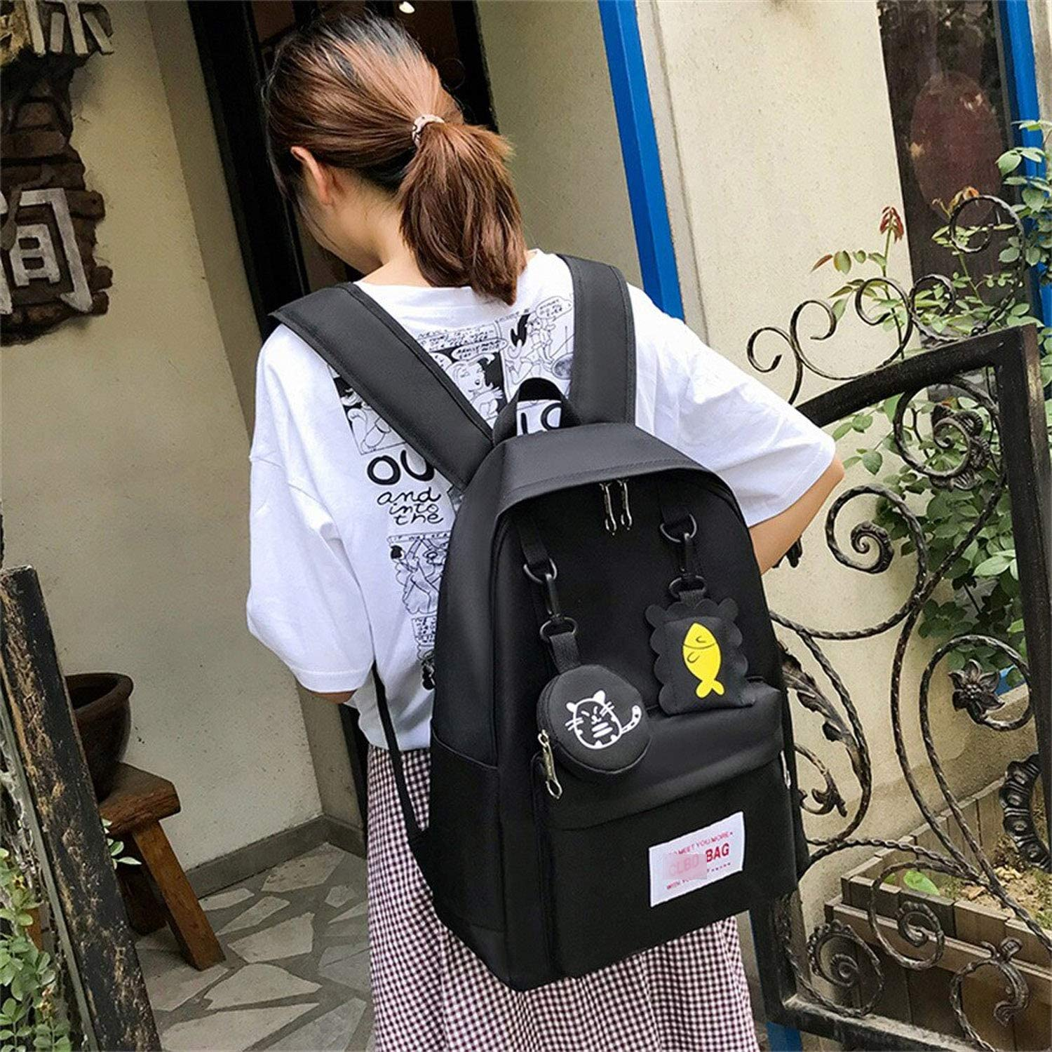 Men Women Teen Backpacks 2 Pieces Cartoon Alphabet Students Canvas Backpack And Handbags Tote Bag Solid Color Green Red Casual Large Capacity Travel Sets,Pink,United States