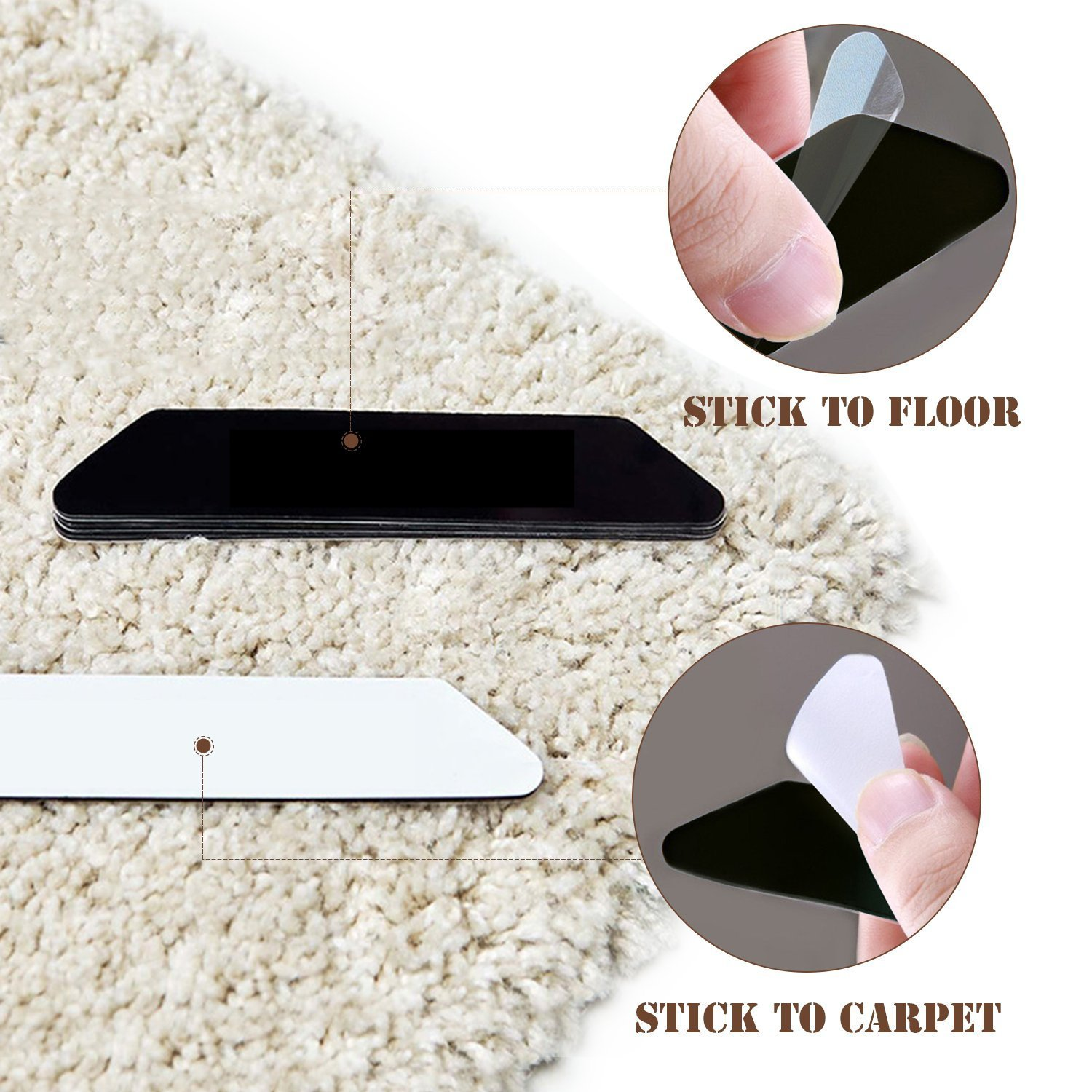 Rug Grippers, Best 10 pcs Anti Curling Rug Gripper, Keeps Your Rug in Place & Makes Corners Flat. Premium Carpet Gripper with Renewable Gripper Tape – Ideal Anti Slip Rug Pad for Your Rugs (White)