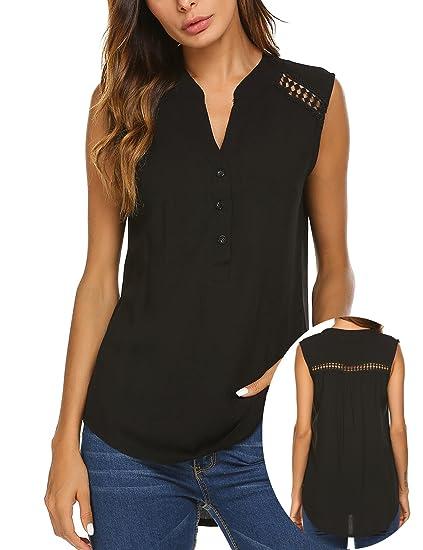 Teewanna Women s Sleeveless Cami Shirt Solid Basic Loose Tunic Tank Top ( Black d3545b85e