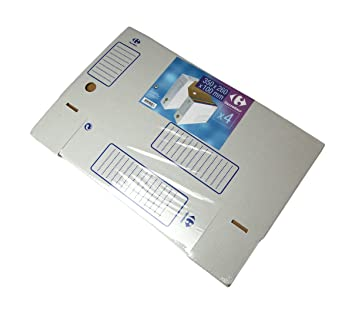Carrefour 3390502995087 Caja de cartón Blanco archivador organizador - Organizador de almacenaje (Caja de cartón