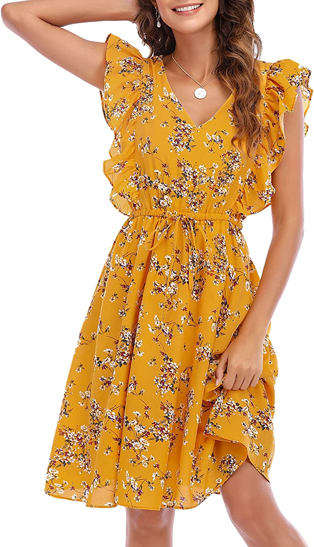 Gardenwed Women's Summer Dress Ruffle Sleeve Drawstring Waist Chiffon Floral Print Cocktail Casual Party Dresses