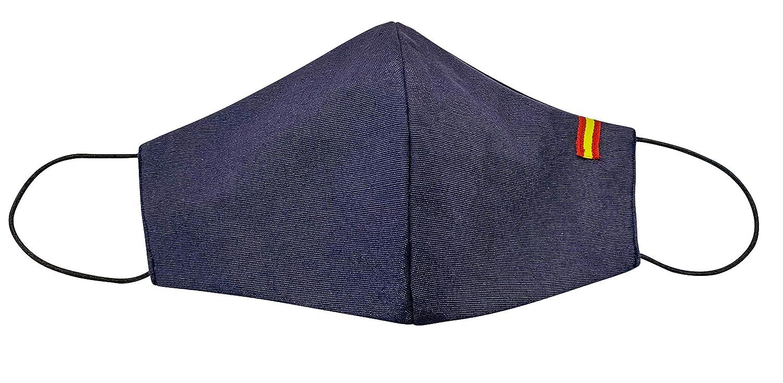 Mascarilla reutilizable Adultos Talla L,Unisex,color Azul con la Bandera de España, protección de filtración muy alta, fabricada en España.