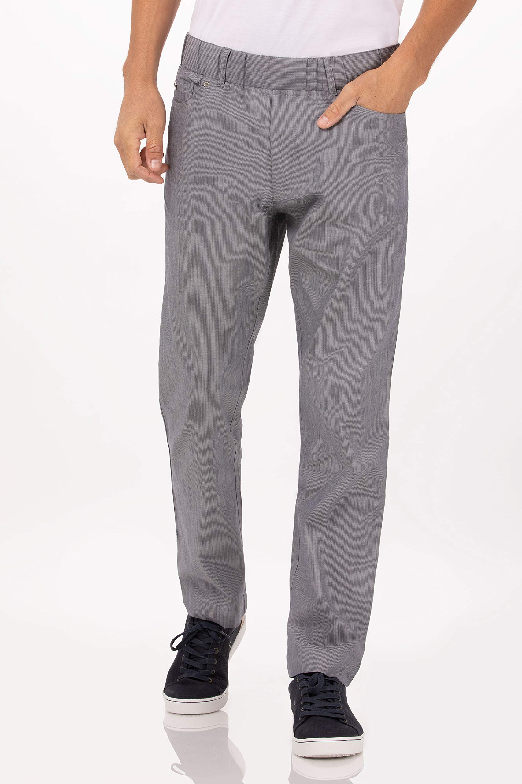 Chef Works Men's Vertical Stripe Chef Pants, Steel Blue, XX-Large by Chef Works