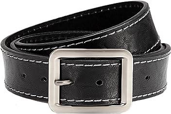Eg-Fashion Stylischer Unisex Pu-Leder Gürtel Jeans Gürtel 3,8 cm Breite- kantige Schließe- individuell kürzbar