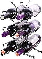 BELLE VOUS Estante para vinos (34x25x14cm) - Soporta hasta 6 Botellas de Vino de tamaño estándar - Soporte para Botellas de Vino de Acero Inoxidable súper Brillante - Estante para vinos Independiente