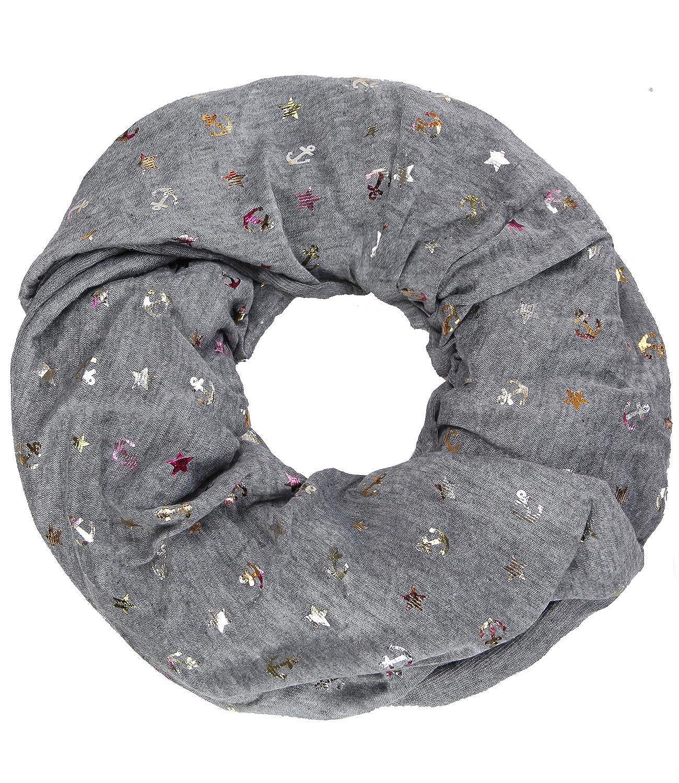 Caripe Damen Loop Schal Glitzer Schlauchschal Halstuch gl/änzend metallic dots Punkte Anker Sterne met-2