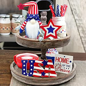 4th of July Decorations - Tiered Tray Decor - 3 Patriotic Wooden Stars and Stripes Signs - Gnomes Plush - Farmhouse Rustic Decor for Memorial Day Fourth of July Independence Labor - Red White Blue