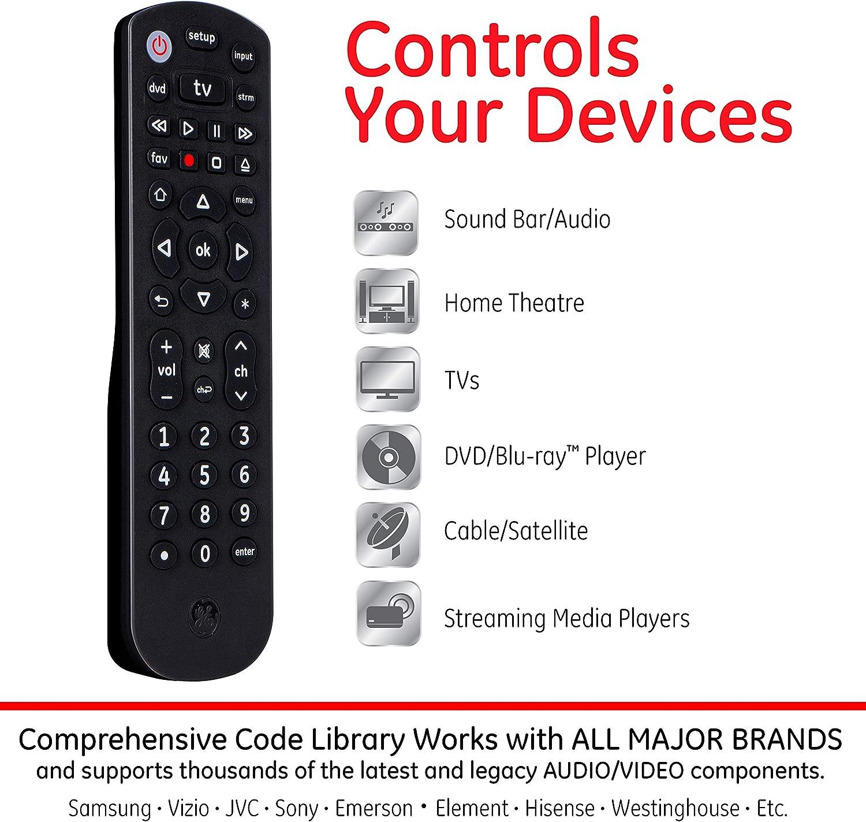 Amazon Com Ge Universal Remote Control For Samsung Vizio Lg Sony Sharp Roku Apple Tv Rca Panasonic Smart Tvs Streaming Players Blu Ray Dvd 3 Device Black 34927 Electronics