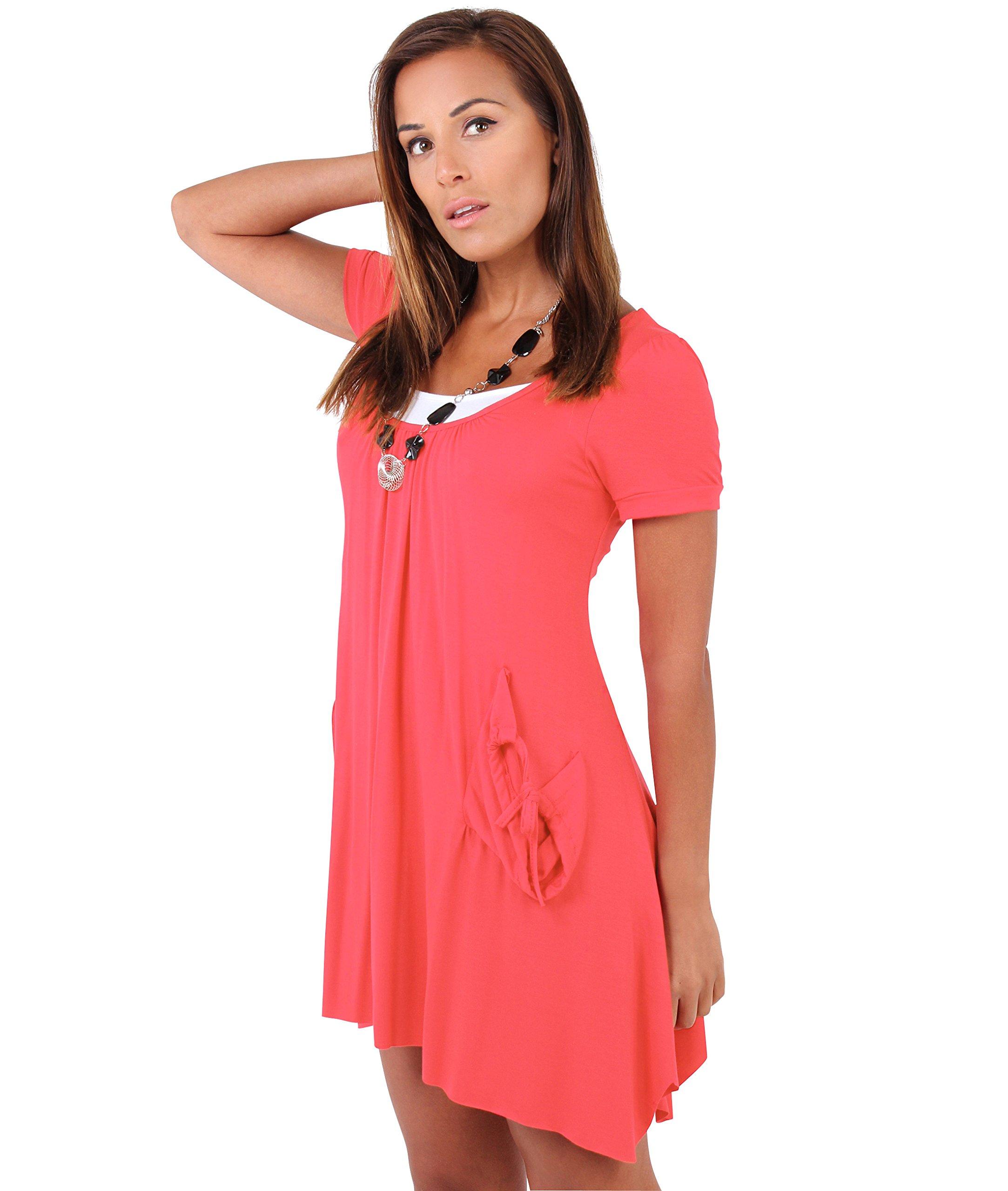 Mini Tunic Dress (Size UK 10, US 4), Coral (3984)