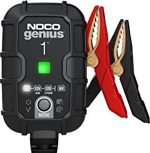 NOCO GENIUS1, 1-Amp Fully-Automatic Smart Charger, 6V And 12V Battery Charger, Battery Maintainer, And Battery Desulfator With Temperature Compensation