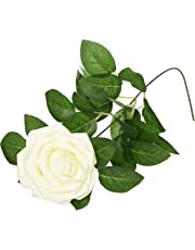Ling's moment Artificial Flowers 50pcs Real Looking Dusty Rose Fake Roses w/Stem for DIY Wedding Bouquets Centerpieces Bridal Shower Party Home Decorations