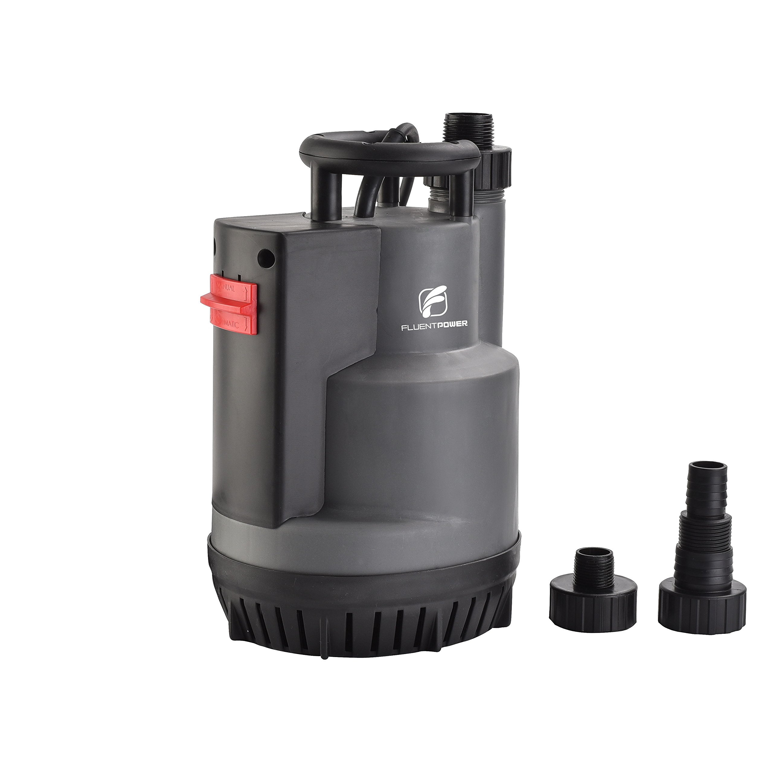 FLUENT POWER Submersible Pump, Automatic ON/OFF, Electric Submersible Water Removal Pump, Prevent Dry Running, Max Flow 2200 GPH, with Fittings Size NPT 3/4'', 1'' and 1.5'' for Hose Connection(1/2 HP)