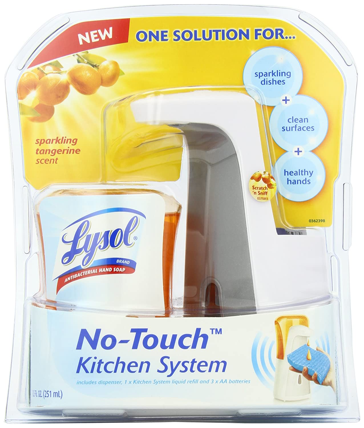 Amazon.com: Lysol No Touch Kitchen System Dish Soap Dispenser Starter Kit,  Tangerine, 8.5 Ounce: Health U0026 Personal Care