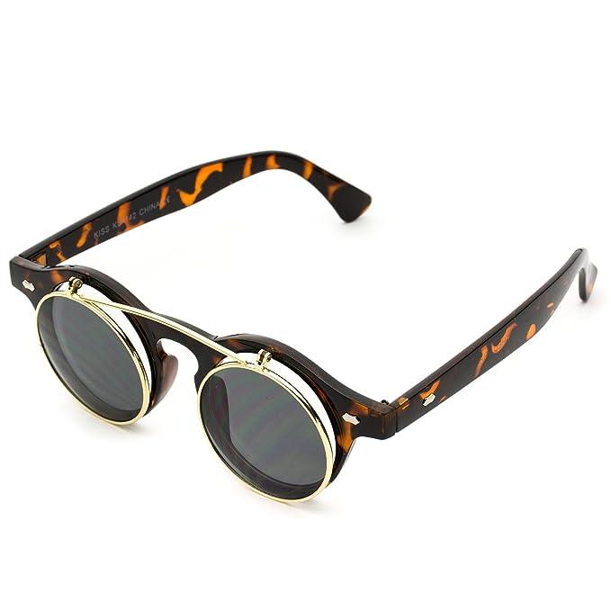 Gafas de sol con lentes redondas que se levantan, estilo cyber steampunk: Amazon.es: Ropa y accesorios