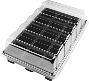 """Gardzen 10-Set Garden Propagator Set, Seed Tray Kits with 150-Cell, Seed Starter Tray with Dome and Base 15"""" x 9"""" (15-Cell Per Tray)"""