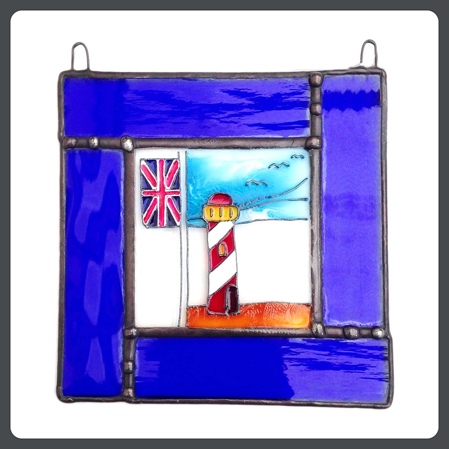 Lekoky BEACH HUTS Stained Glass, Hand Painted Sun Catcher, Gift, Window Decoration, Art Glassware, Hand Crafted in South of England Lenka's Terrariums