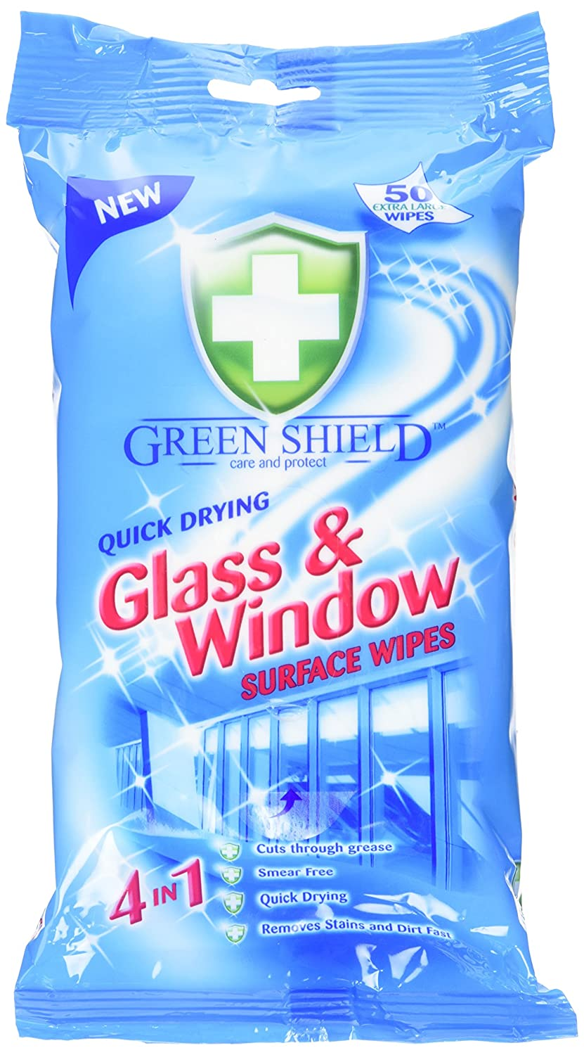 Green Shield Glass and Window Surface Wipes Pack of 8, Total 400