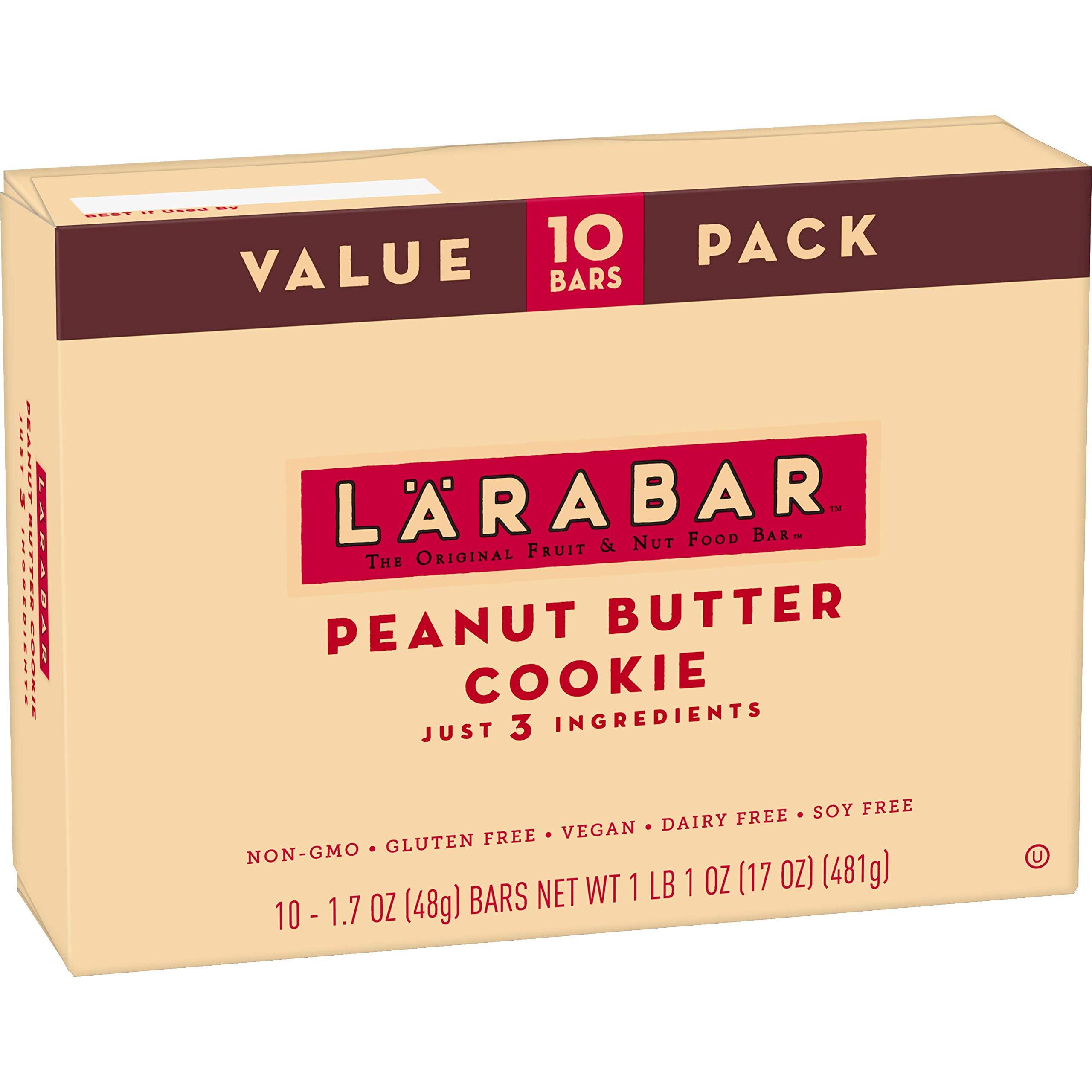 Larabar Gluten Free Bar, Peanut Butter Cookie, 1.7 oz Bars (10 Count), Whole Food Gluten Free Bars, Dairy Free Snacks by LÄRABAR