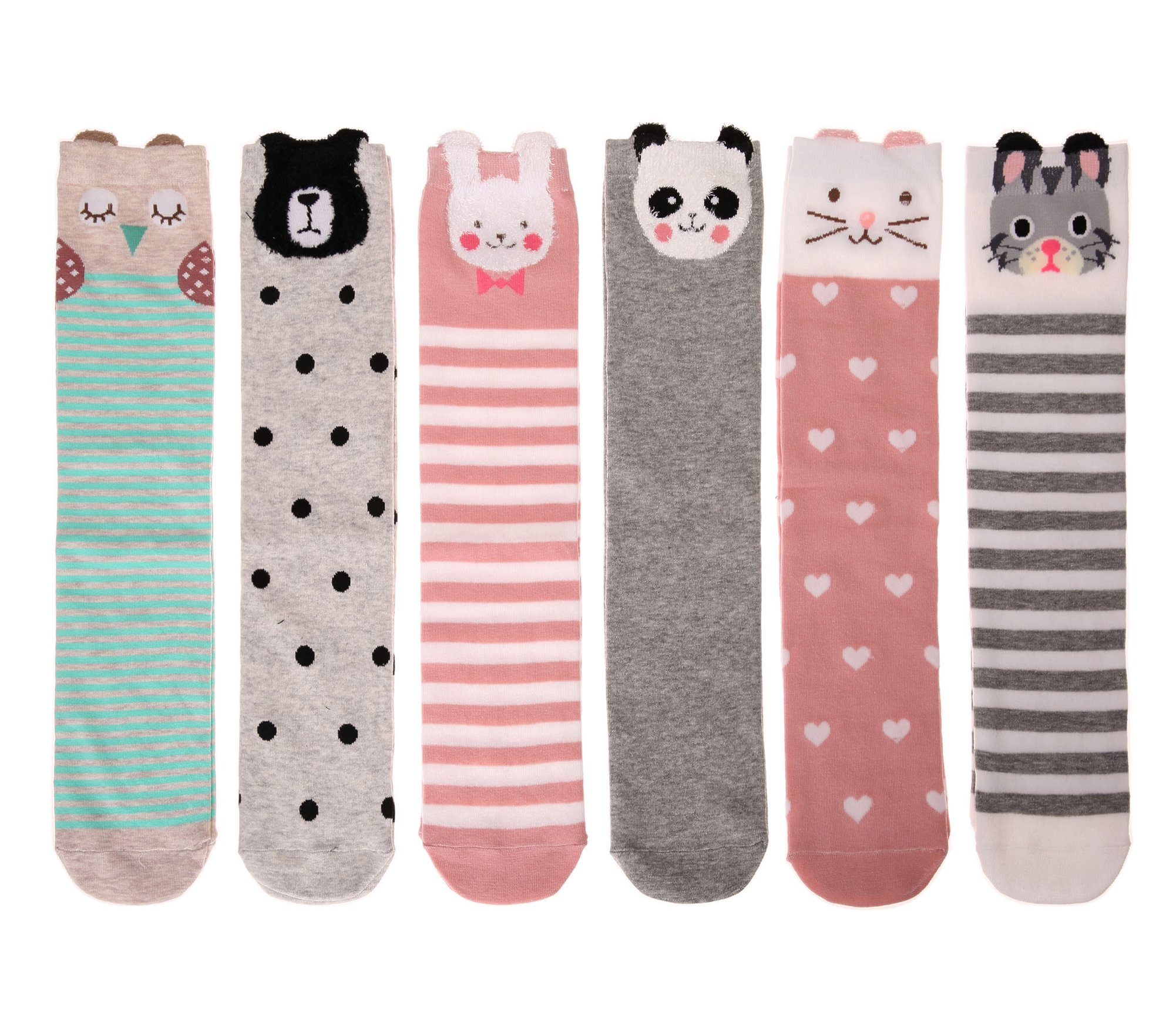 Color City Kids Girls Socks Knee High Stockings Cartoon Animal Theme Cotton Socks (6 Pairs) by Color City (Image #3)