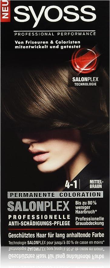 Syoss Tinte para el pelo, 4-1 castaño medio, 3 unidades (3 x 115 ml)