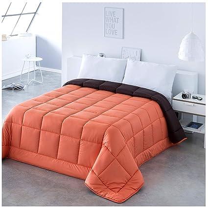 EDREDON NORDICO Bicolor Reversible Fibra 300 gr/m² Cama DE 180 Colores Naranja Y Marron