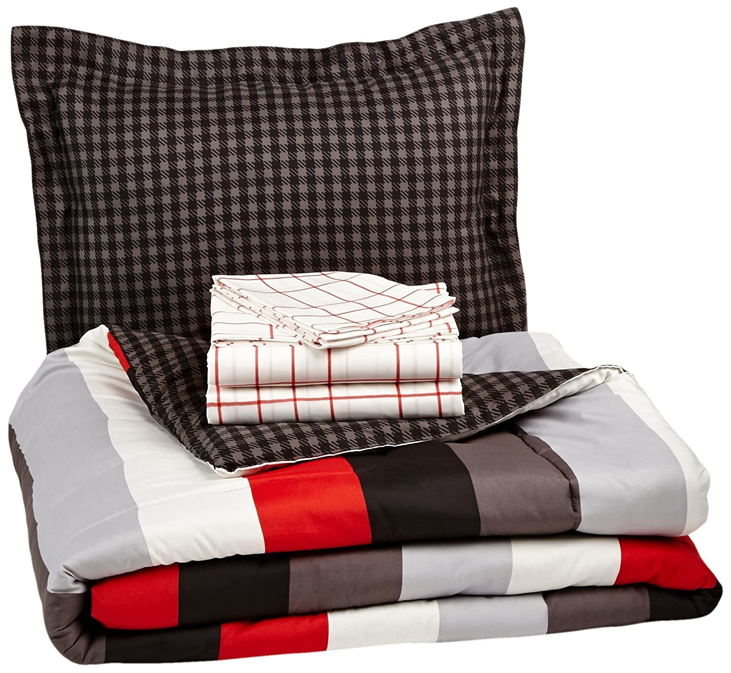 AmazonBasics 5-Piece Bed-In-A-Bag, Twin/Twin XL, Red Simple Stripe
