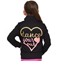 Stretch is Comfort Girl's Glitter Dance Warm Up Black Jacket