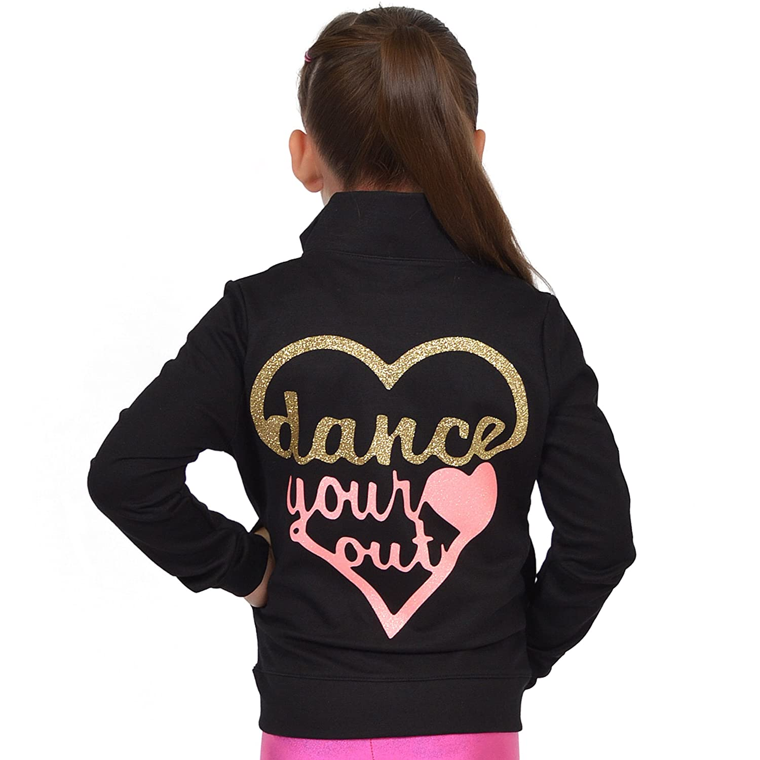 Stretch is Comfort Girl's Rayon Live Love Dance Warm Up Black Jacket J3032LIVLVDC-$P