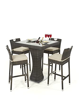 cb9809e763b4c Maze Rattan 4 Seat Square Bar Set with Luxury Inset Ice Bucket in a Mixed  Brown