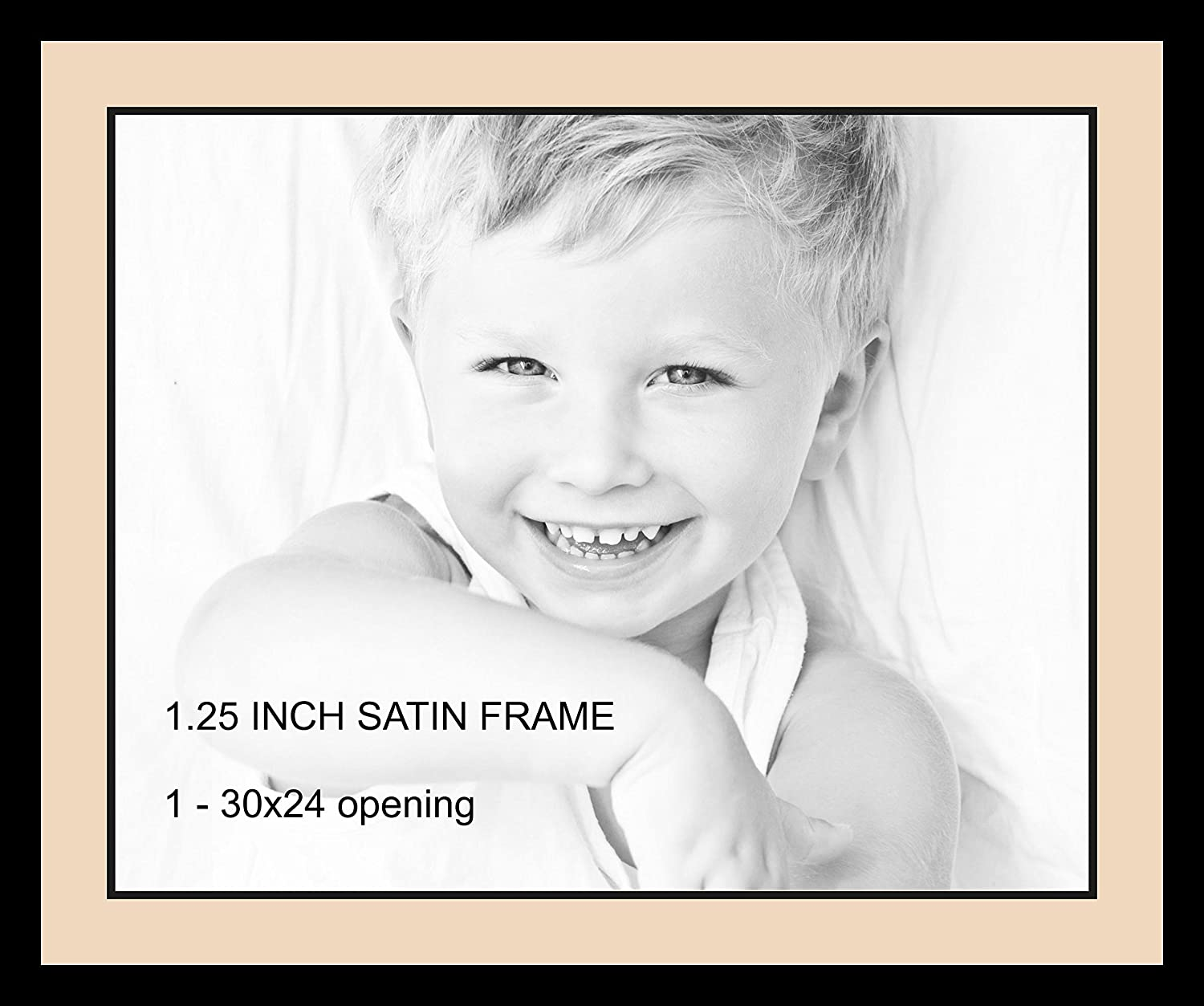 Art to Frames Double-Multimat-738-783//89-FRBW26079 34 by 28-Inch Picture Frame 1.25-Inch Wide Satin Black