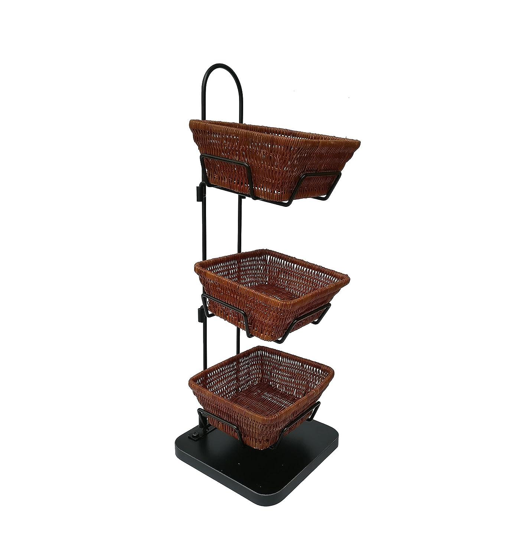 FixtureDisplays Mini 3 Tier Wicker Basket Stand Impulse Buy Item Rack Countertop 119999