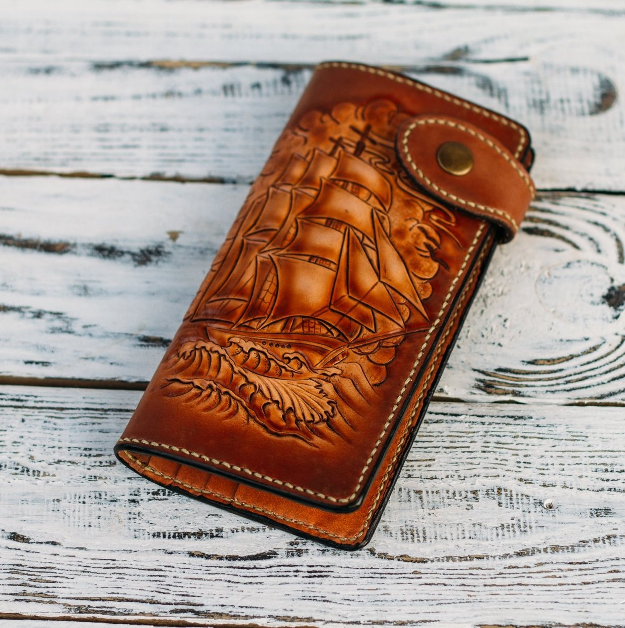Men's 3D Genuine Leather Wallet, Long Travel wallet, Biker wallet, Hand-Carved, Hand-Painted, Leather Carving, Custom wallet, Personalized wallet, Boat, Ship