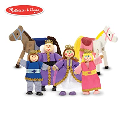 Melissa Doug Royal Family Wooden Poseable Doll Set For Castle And Dollhouse 6 Pcs 4 Dolls 2 Horses 3 4 Inches Each