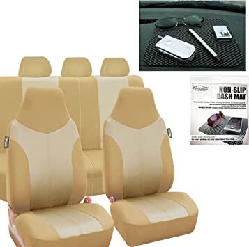 FH Group FB101BEIGETAN115 Beige Supreme Twill Fabric High-Back Car Seat Cover Full Set Airbag Ready and Split Rear Bench