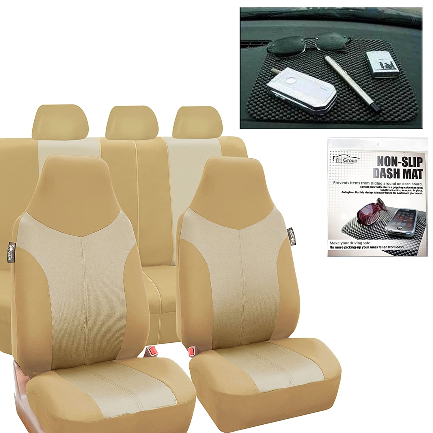FH Group FH-FB101115 Supreme Twill Fabric High Back Car Seat Covers Beige/Tan (Full Set Airbag Ready and Split Rear Bench) FH1002 Non-Slip Dash Pad-Fit Most Car, Truck, SUV, or Van