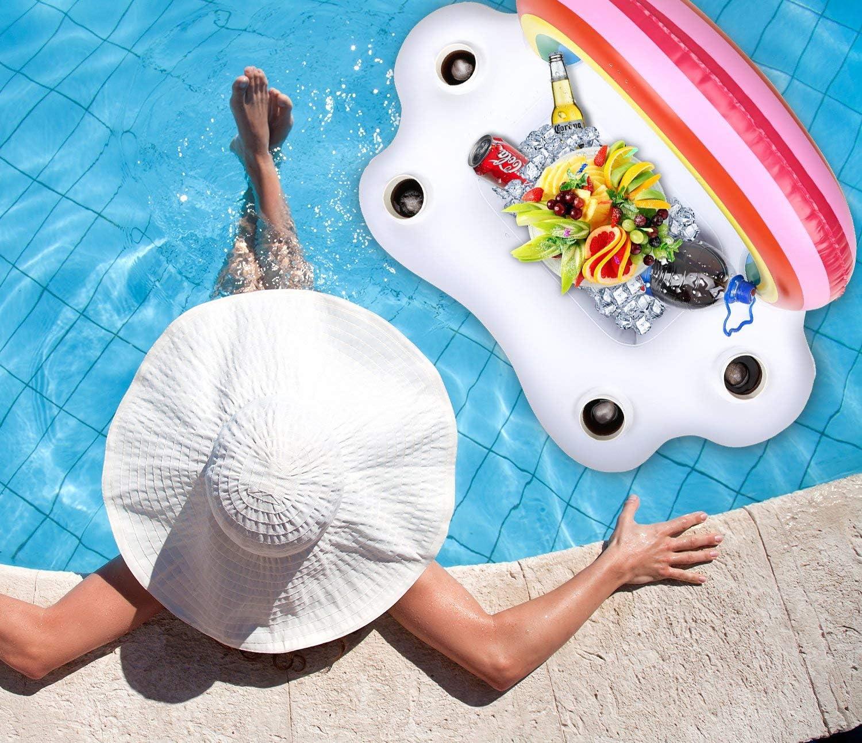 INTVN Portabevande Gonfiabile 2 Pz Unicorno Gonfiabile Portabicchieri Nuoto Dispositivi di galleggiamento per la Festa in Piscina Divertimento Acquatico 1 Pz Gonfiabile Arcobaleno Portabicchieri