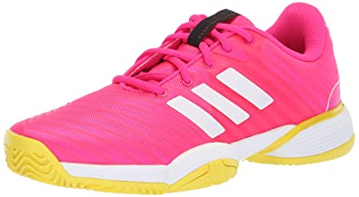 huge selection of 38362 52653 adidas Unisex Barricade 2018 Running Shoe, PinkWhiteShock Yellow, 1.5 M