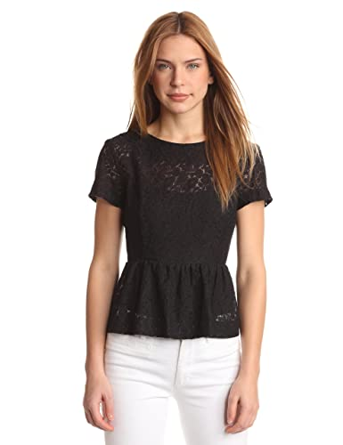 French Connection Top peplum de encaje de manga corta para mujer