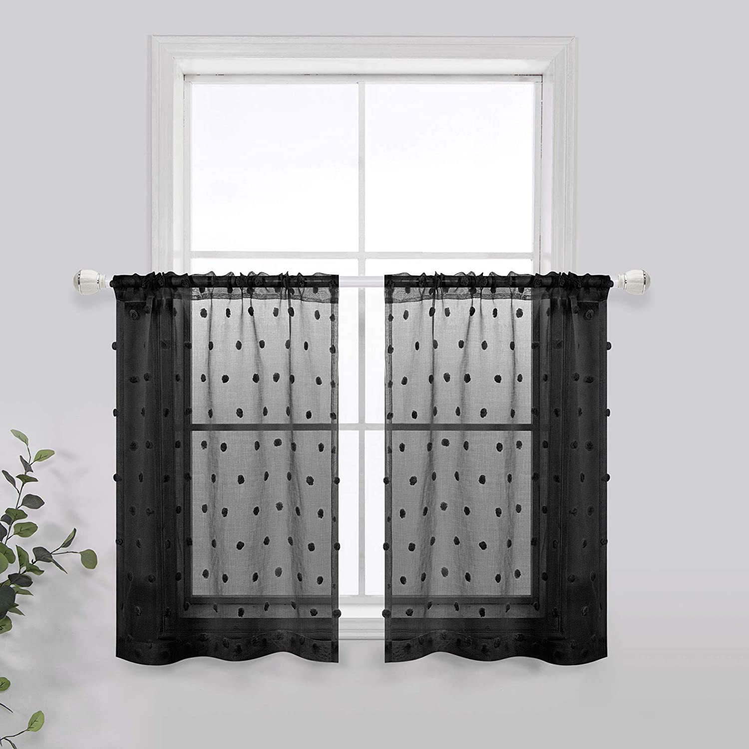 Short Curtains 24 Inch Length for Kitchen Windows Set 2 Pack Sheer Pole Pocket Little Pom Pom Decor Textured Small Half Curtain Valances Black Kitchen Tiers 24 Length for Bathroom Camper 30x24 Long